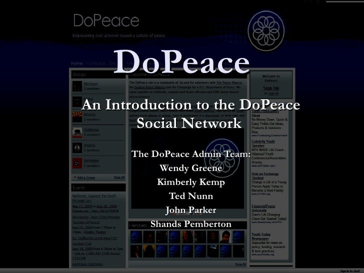DoPeace An Introduction to the DoPeace Social Network  The DoPeace Admin Team: Wendy Greene Kimberly Kemp Ted Nunn John Pa...
