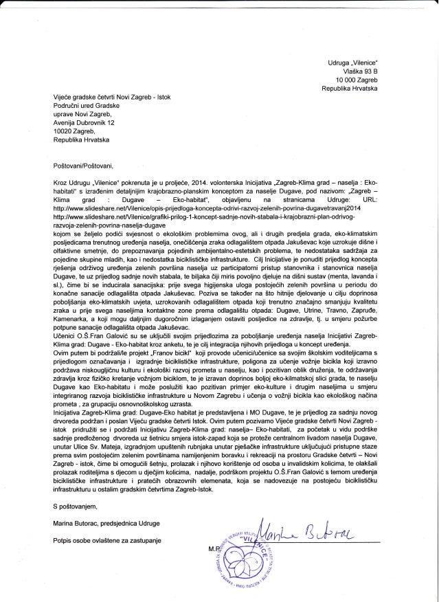 "7  Udruga ,,Vilenice""  Vla5ka 93 B  10 000 Zagreb  Republika Hrvatska  Vijece gradske detvrti NoviZagreb - lstok  Podrudni..."