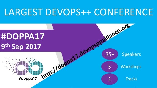 #DOPPA17 9th Sep 2017 LARGEST DEVOPS++ CONFERENCE 35+ Speakers 5 Workshops 2 Tracks