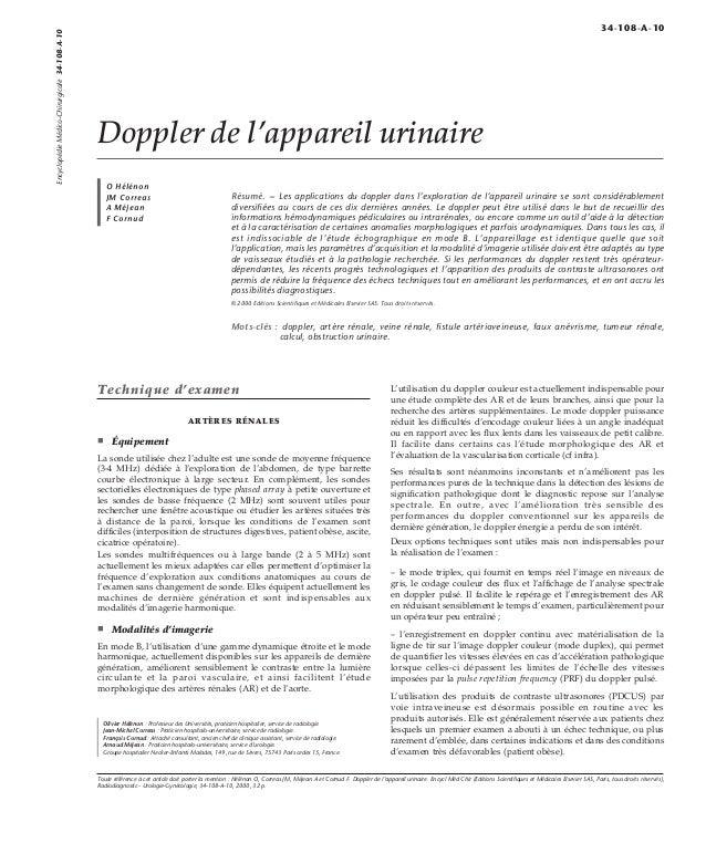 Doppler de l'appareil urinaire  O Hélénon  JM Correas  A Méjean  F Cornud  Résumé. – Les applications du doppler dans l'ex...