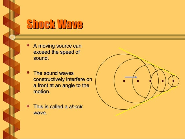 Shock WaveShock Wave  A moving source canA moving source can exceed the speed ofexceed the speed of sound.sound.  The so...