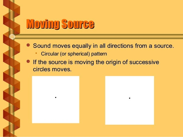 Moving SourceMoving Source  Sound moves equally in all directions from a source.Sound moves equally in all directions fro...