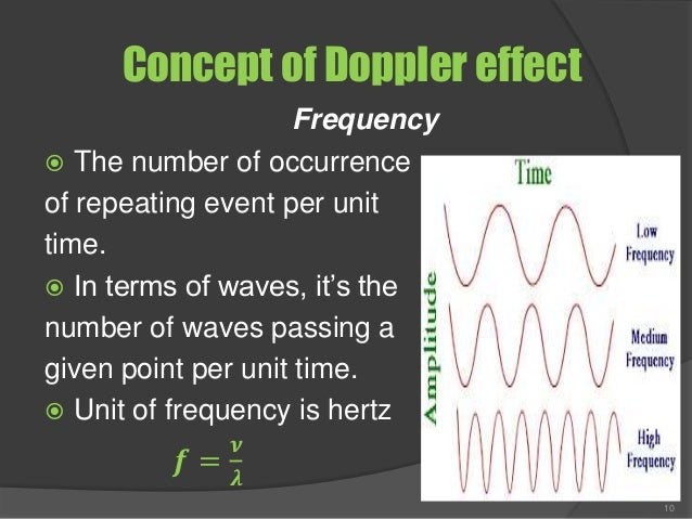 Concept of Doppler effect Frequency  The number of occurrence of repeating event per unit time.  In terms of waves, it's...