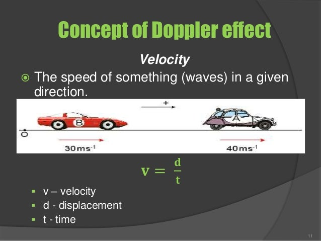 Concept of Doppler effect Velocity  The speed of something (waves) in a given direction. 𝐯 = 𝐝 𝐭  v – velocity  d - dis...