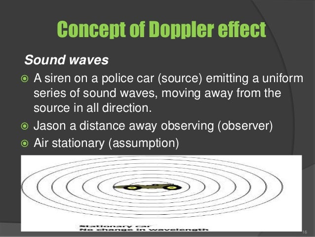 Concept of Doppler effect Sound waves  A siren on a police car (source) emitting a uniform series of sound waves, moving ...