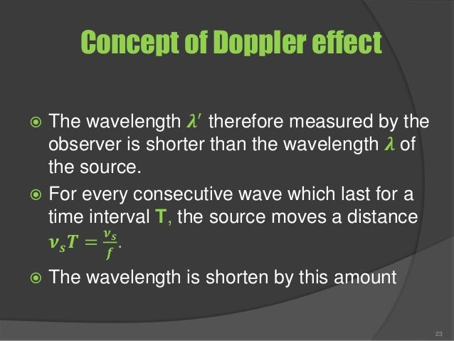 Concept of Doppler effect  The wavelength 𝝀′ therefore measured by the observer is shorter than the wavelength 𝝀 of the s...