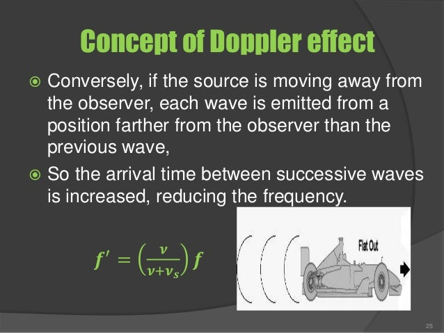 Concept of Doppler effect  Conversely, if the source is moving away from the observer, each wave is emitted from a positi...