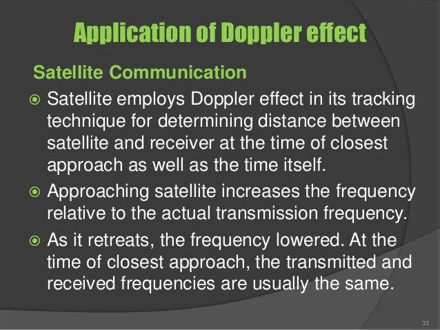 Application of Doppler effect Satellite Communication  Satellite employs Doppler effect in its tracking technique for det...