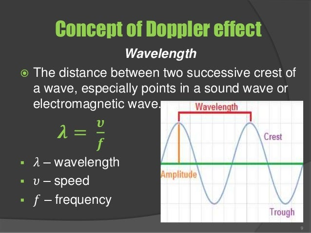 Concept of Doppler effect Wavelength  The distance between two successive crest of a wave, especially points in a sound w...