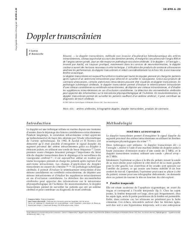 Doppler transcrânien  F Cattin  JF Bonneville  Résumé. – Le doppler transcrânien, méthode non invasive d'exploration hémod...