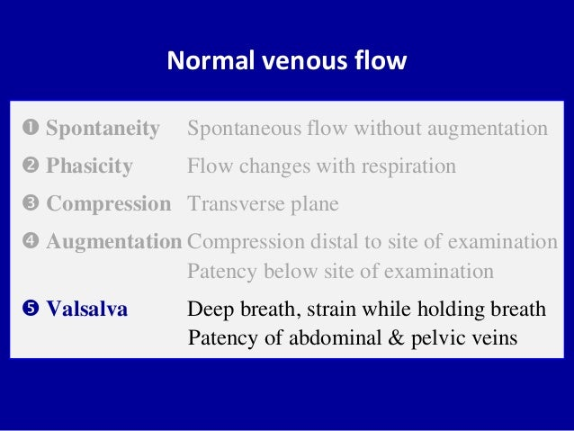 Normal venous flow Spontaneity Spontaneous flow without augmentation Phasicity Flow changes with respiration Compressio...