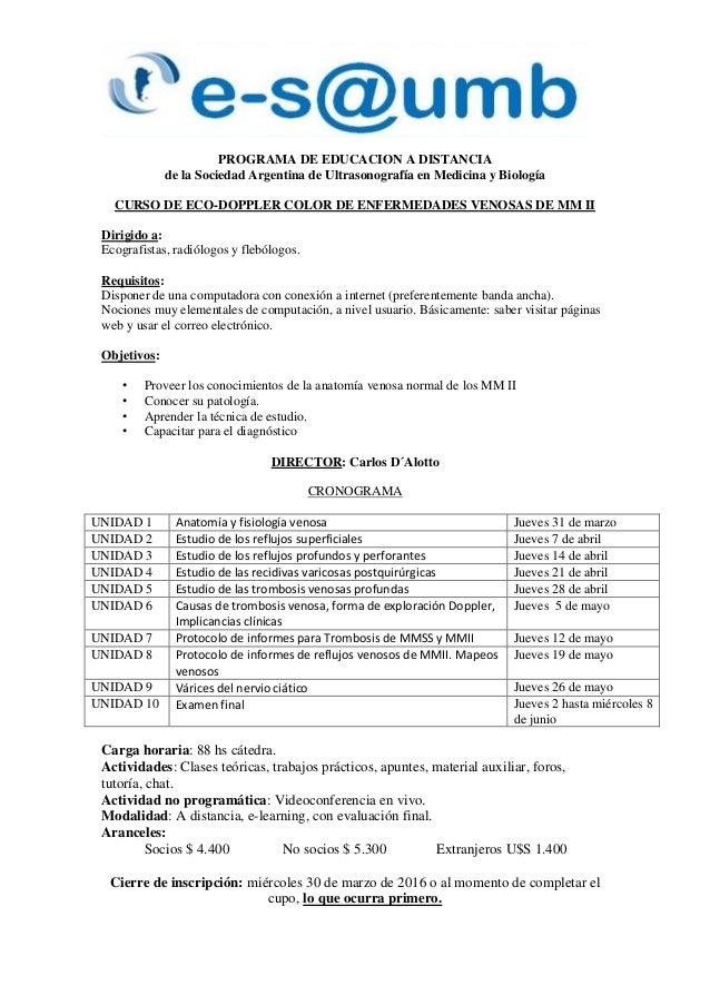 PROGRAMA DE EDUCACION A DISTANCIA de la Sociedad Argentina de Ultrasonografía en Medicina y Biología CURSO DE ECO-DOPPLER ...