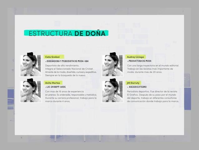 ESTRUCTURA DE DOÑA Cata Greloni > DISEÑADORA Y PERIODISTA DE MODA-UBA Deportista de alto rendimiento. Integra el Seleccion...