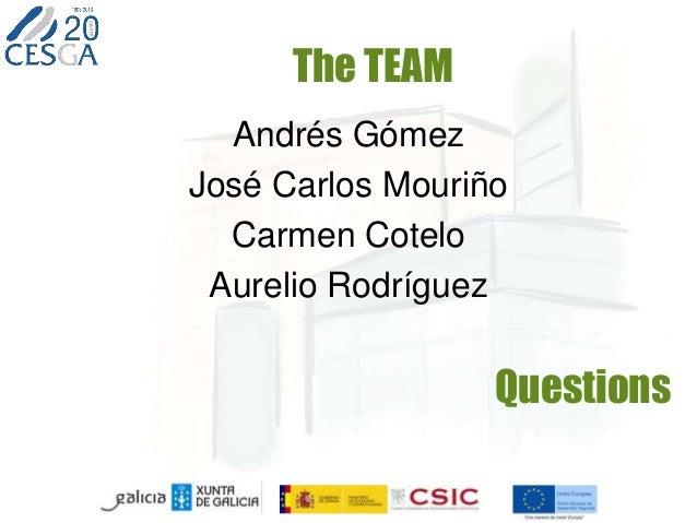 Questions Andrés Gómez José Carlos Mouriño Carmen Cotelo Aurelio Rodríguez The TEAM