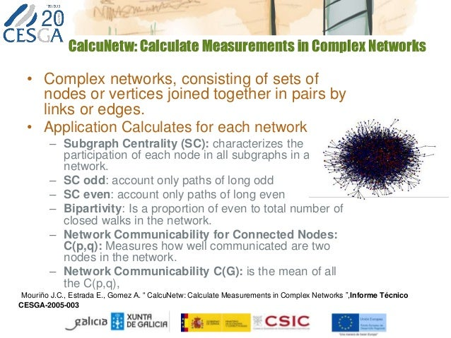 CalcuNetw: Calculate Measurements in Complex Networks • Complex networks, consisting of sets of nodes or vertices joined t...