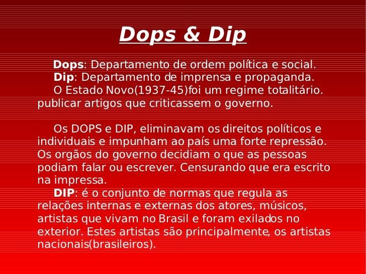 Dops & Dip Dops : Departamento de ordem política e social. Dip : Departamento de imprensa e propaganda. O Estado Novo(1937...