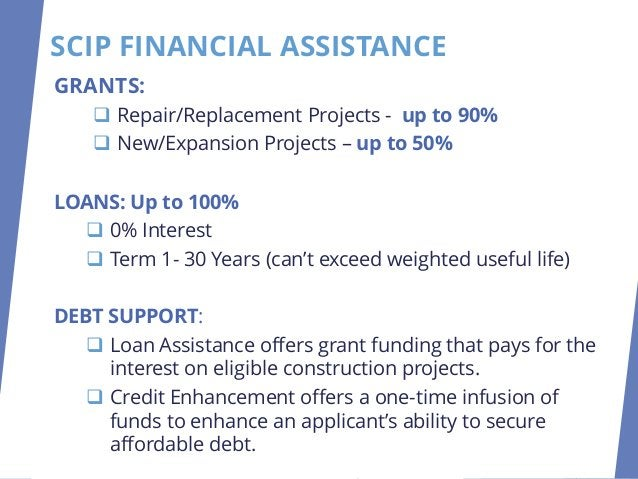 GRANTS: ❑ Repair/Replacement Projects - up to 90% ❑ New/Expansion Projects – up to 50% LOANS: Up to 100% ❑ 0% Interest ❑ T...