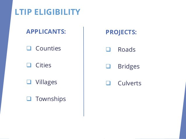 PROJECTS: ❑ Roads ❑ Bridges ❑ Culverts APPLICANTS: ❑ Counties ❑ Cities ❑ Villages ❑ Townships LTIP ELIGIBILITY