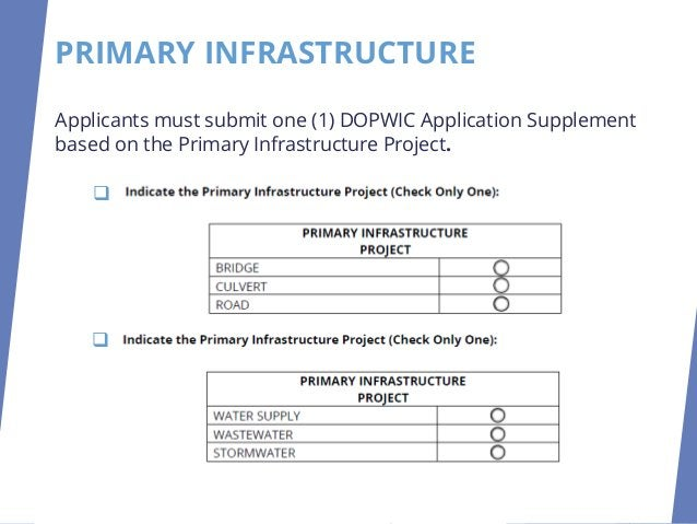 PRIMARY INFRASTRUCTURE Applicants must submit one (1) DOPWIC Application Supplement based on the Primary Infrastructure Pr...