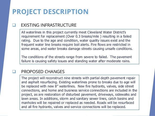 ❑ Primary Infrastructure ❑ Project Description ❑ Infrastructure Condition ❑ Infrastructure Age ❑ Users ❑ Health and Safety...