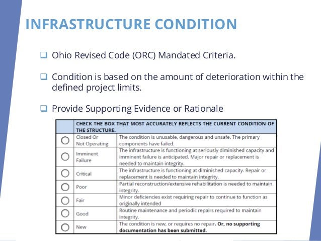 INFRASTRUCTURE CONDITION ❑ Road, Bridge or Culvert ❑ Sewer, Septic, Wastewater, Water