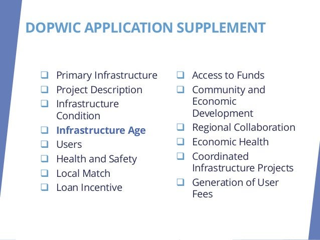 INFRASTRUCTURE AGE ❑ ORC Mandated Criteria. ❑ Original Construction Year. ❑ Provide Proof of Age. ❑ Provide Year Of Last M...