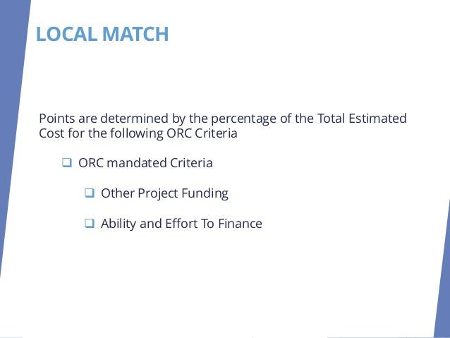 LOCAL MATCH Maximum 20 Points Section 1.0 of the OPWC Application for Financial Assistance will be used to determine point...