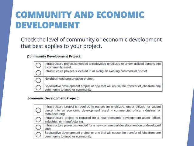 COMMUNITY OR ECONOMIC DEVELOPMENT Maximum 3 Points COMMUNITY DEVELOPMENT POINTS Infrastructure project is needed to redeve...