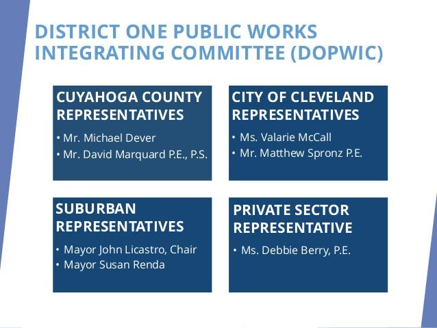 DISTRICT ONE PUBLIC WORKS INTEGRATING COMMITTEE (DOPWIC) CUYAHOGA COUNTY REPRESENTATIVES • Mr. Michael Dever • Mr. David M...