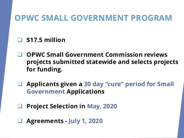 SMALL GOVERNMENT ❑ All applications from Small Government (SG) subdivisions will also be scored according to the SG method...