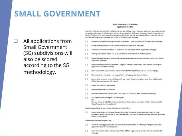 SMALL GOVERNMENT SELECTION In order for the DOPWIC to determine which eligible applications will be the most competitive f...