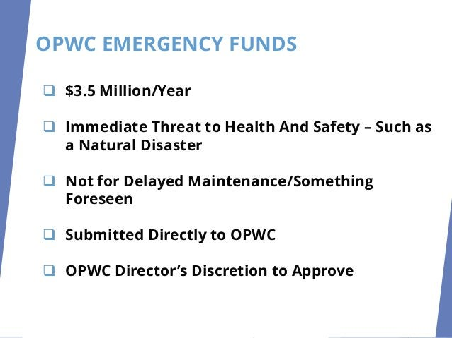 OPWC EMERGENCY FUNDS