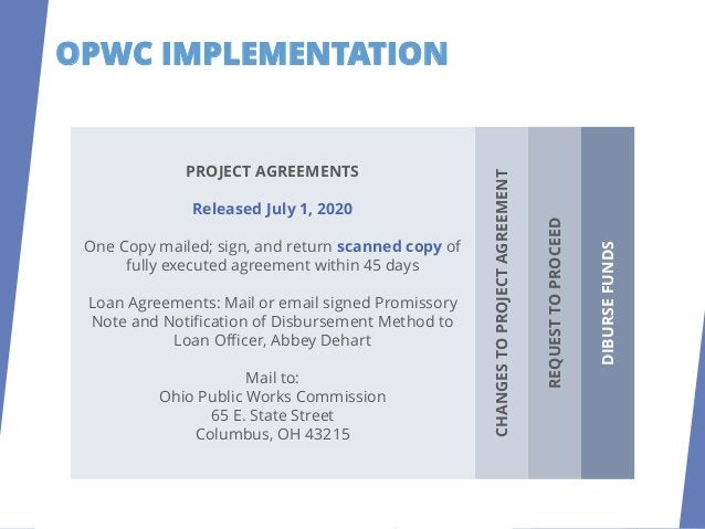 OPWC IMPLEMENTATION REQUESTTOPROCEED DISBURSEFUNDS CHANGES TO PROJECT AGREEMENT Changes can be noted via letter from your ...