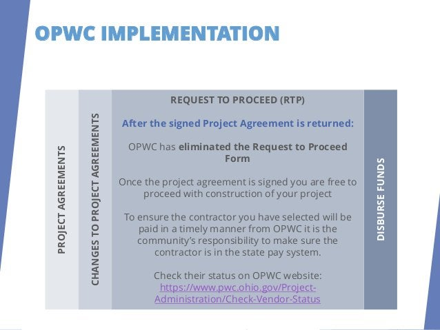 OPWC IMPLEMENTATION DISBURSE FUNDS To request disbursements, fill out the three (3) page Disbursement Request Form found i...