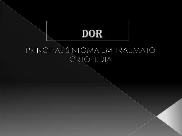 """ """"Uma experiência sensorial e emocional desagradável que é associada a lesões reais ou potenciais ou descrita em termos d..."""