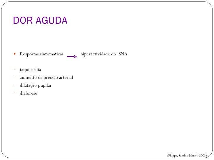 DOR AGUDA <ul><li>Respostas sintomáticas  hiperactividade do  SNA </li></ul><ul><li>taquicardia </li></ul><ul><li>aumento ...
