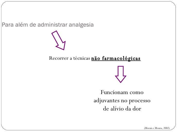 Para além de administrar analgesia   Recorrer a técnicas  não farmacológicas Funcionam como adjuvantes no processo de alív...