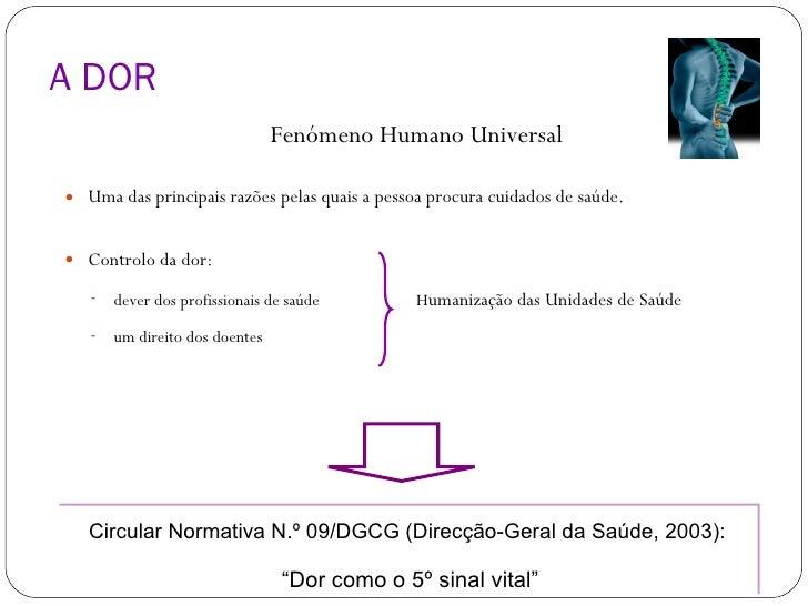 A DOR <ul><li>Fenómeno Humano Universal </li></ul><ul><li>Uma das principais razões pelas quais a pessoa procura cuidados ...