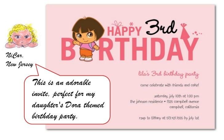 dora birthday party invite, Birthday invitations