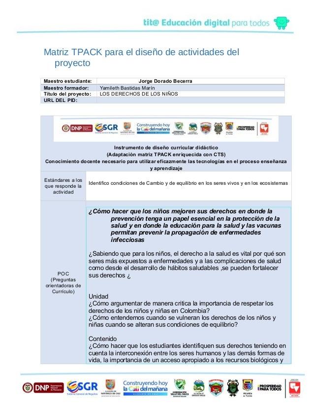 Matriz TPACK para el diseño de actividades del proyecto Maestro estudiante: Jorge Dorado Becerra Maestro formador: Yamilet...