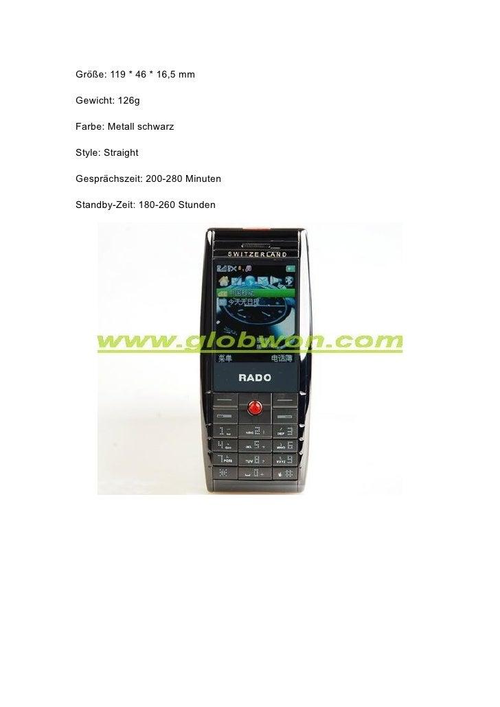Größe: 119 * 46 * 16,5 mm  Gewicht: 126g  Farbe: Metall schwarz  Style: Straight  Gesprächszeit: 200-280 Minuten  Standby-...