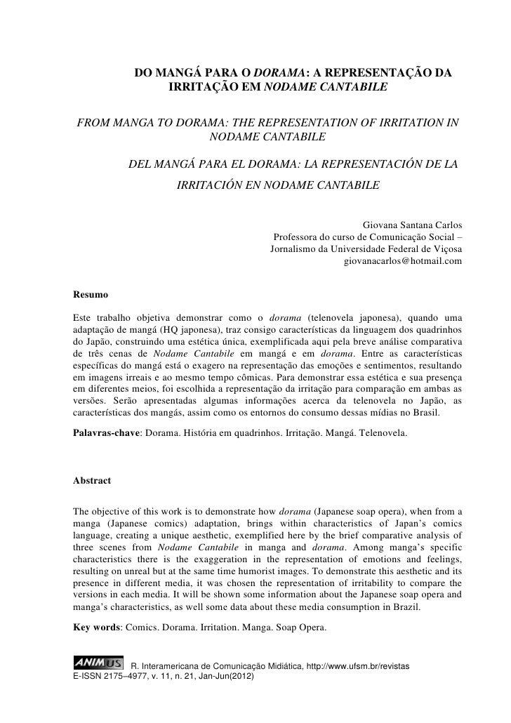 DO MANGÁ PARA O DORAMA: A REPRESENTAÇÃO DA                   IRRITAÇÃO EM NODAME CANTABILEFROM MANGA TO DORAMA: THE REPRES...