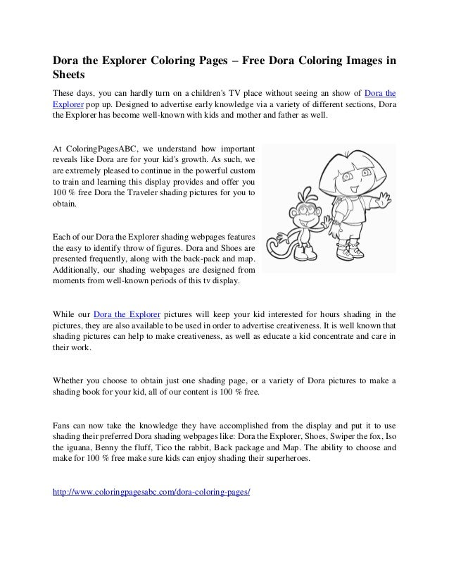 Free Dora The Explorer Map Coloring Pages, Download Free Clip Art ... | 826x638