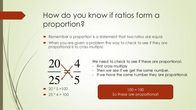 Do ratios form a proportion