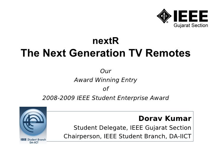 nextR The Next Generation TV Remotes                      Our             Award Winning Entry                       of    ...