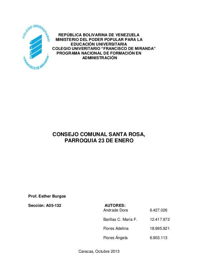 """REPÚBLICA BOLIVARINA DE VENEZUELA MINISTERIO DEL PODER POPULAR PARA LA EDUCACIÓN UNIVERSITARIA COLEGIO UNIVERITARIO """"FRANC..."""