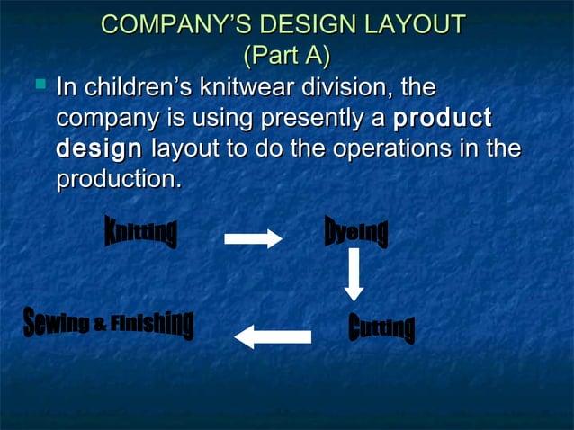 COMPANY'S DESIGN LAYOUTCOMPANY'S DESIGN LAYOUT (Part A)(Part A)  In children's knitwear division, theIn children's knitwe...