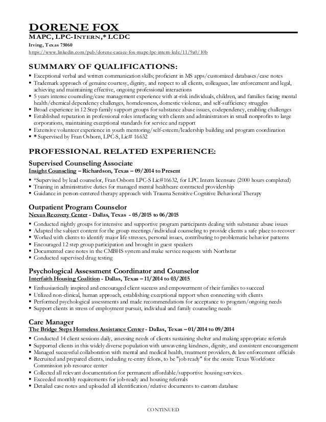 Licensed Professional Counselor Resume
