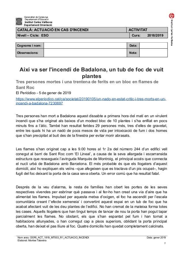 Generalitat de Catalunya Departament d'Educació Institut Carles Vallbona Departament Orientació CATALÀ: ACTUACIÓ EN CAS D'...