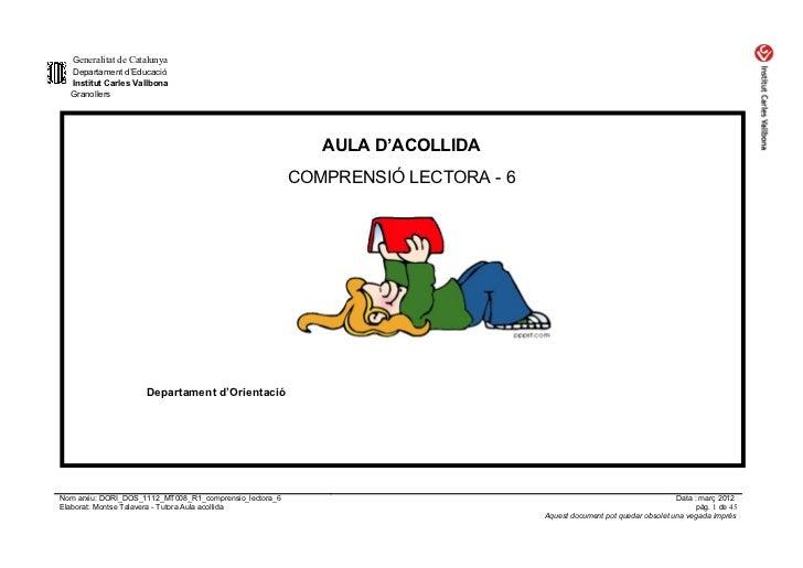 Generalitat de Catalunya  Departament d'Educació  Institut Carles Vallbona  Granollers                                    ...